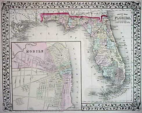 Antique Map Of Florida.Mitchell 1872 Antique Map Of Florida Mobile Real Old Art