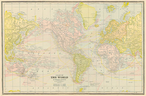 1892 Map Of The World.Cram 1892 Antique Map Of The World On Mercator S Projection Real