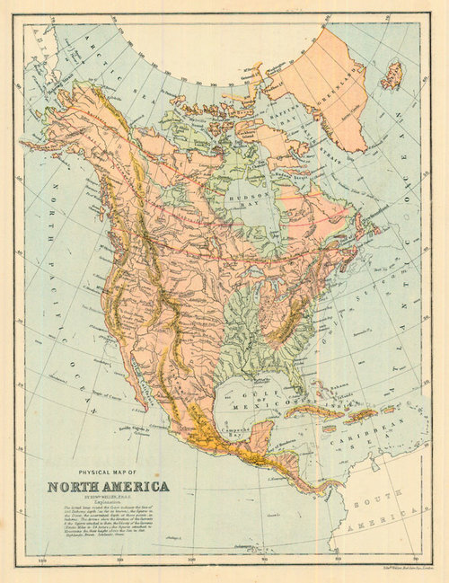 Antique Map Of North America.Bartholomew 1877 Antique Physical Map Of North America Real Old