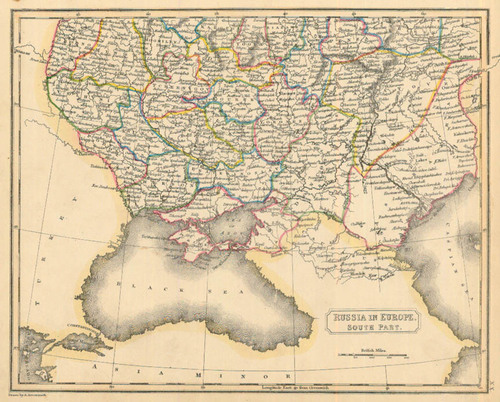 Russia On Europe Map.Arrowsmith 1836 Antique Map Of Russia In Europe South Part Real