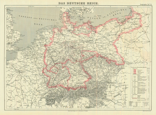 Map Of Germany 1870.Lange 1870 Antique Map Of Germany Real Old Art Authentic