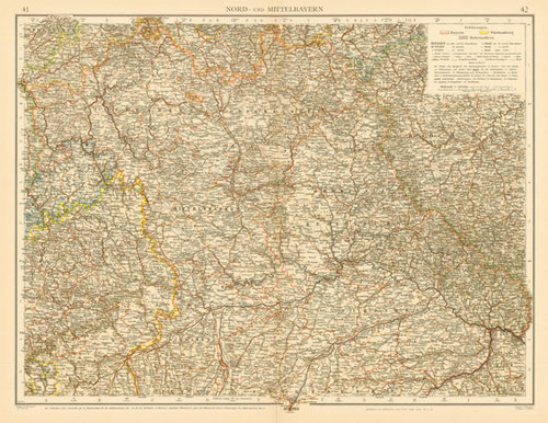 Map Of Central Germany.Andree 1899 Antique Map Of Central Germany