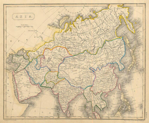 Authentic World Map.Arrowsmith 1836 Antique Map Of Asia Real Old Art Authentic