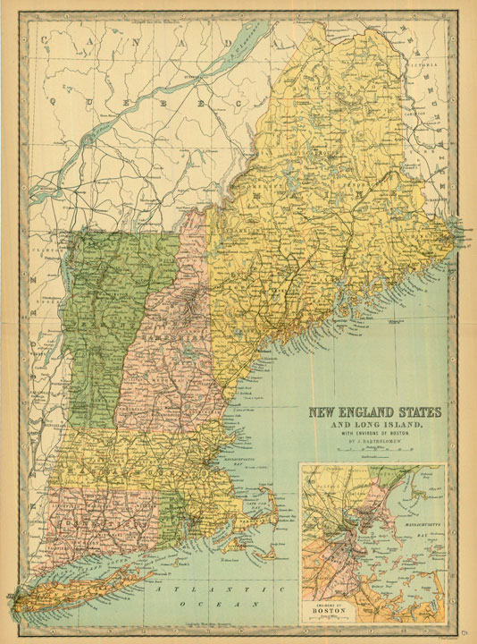 Old New England Map.Bartholomew 1881 Antique Map Of New England States Real Old Art