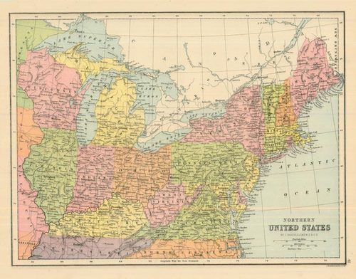 Bartholomew 1877 Antique Map of Northern United States — Real Old ...