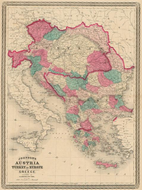 Turkey On Europe Map.Johnson 1870 Antique Map Of Austria Turkey In Europe Greece