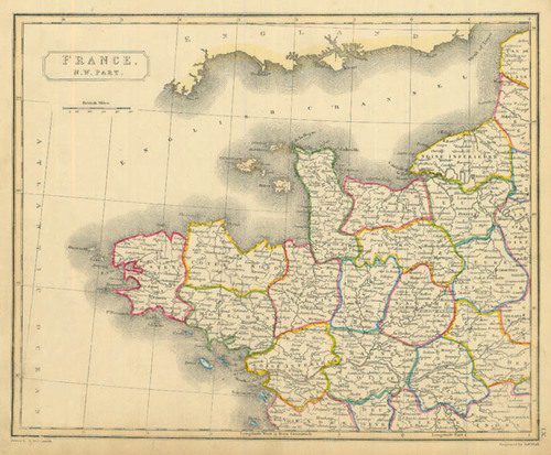 Map Of North West France.Arrowsmith 1836 Antique Map Of Northwest France Real Old Art