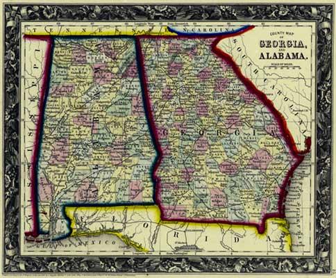 Map Of Old Georgia.Mitchell 1860 Antique Map Of Georgia Alabama