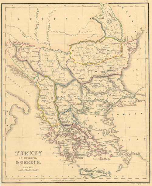 Map Of Europe 1840.Whyte 1840 Antique Map Of Turkey In Europe Real Old Art