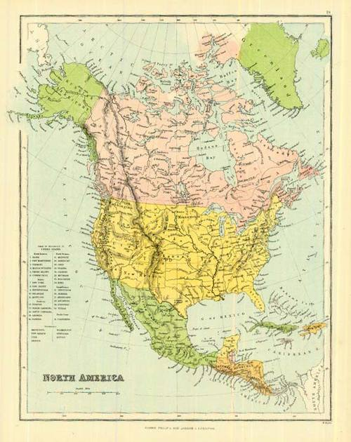 Antique Map Of North America.Bartholomew 1858 Antique Map Of North America Real Old Art