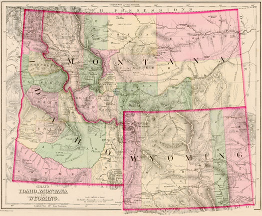 Gray 1875 Antique Map Of Idaho Montana Wyoming Real Old Art Authentic Affordable Old Antique Maps Prints