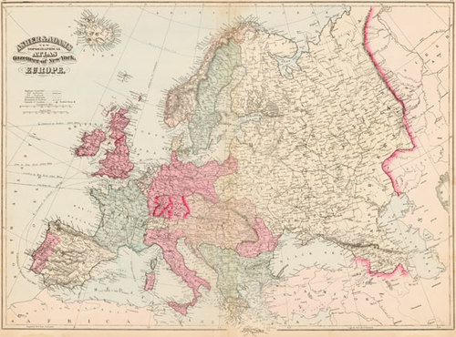 Map Of Europe In 1871.Asher Adams 1871 Antique Map Of Europe Real Old Art Authentic