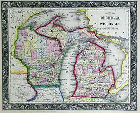 Michigan And Wisconsin Map.Mitchell 1860 Antique Map Of Michigan Wisconsin Real Old Art