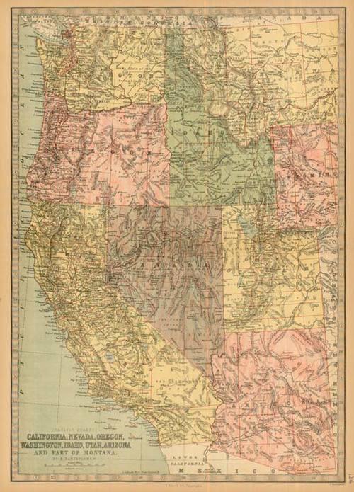 Bartholomew 1881 Antique Map Of California Nevada Oregon
