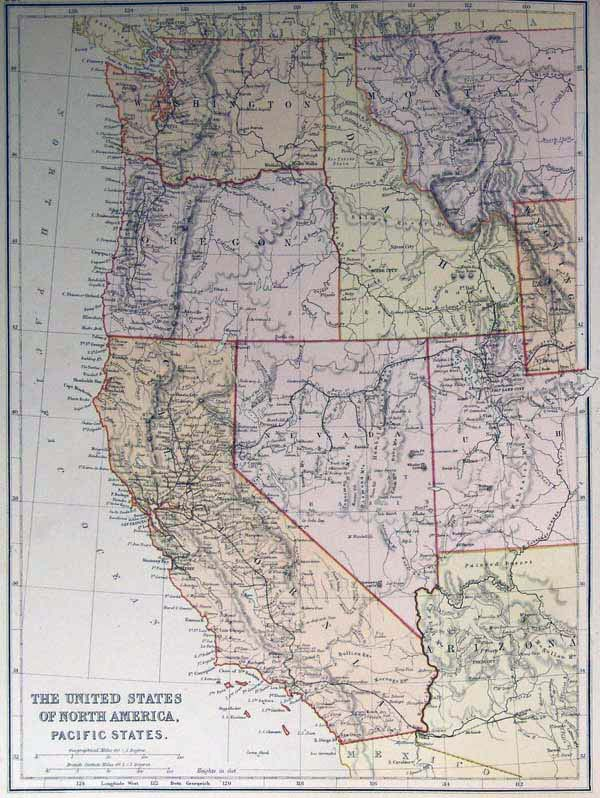 Blackie 1882 Antique Map of the Western United States — Real Old Art -  Authentic Affordable Old Antique Maps & Prints