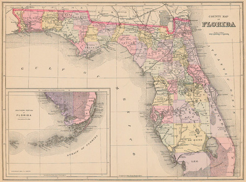 Antique Map Of Florida.Mitchell 1887 Antique Map Of Florida Real Old Art Authentic