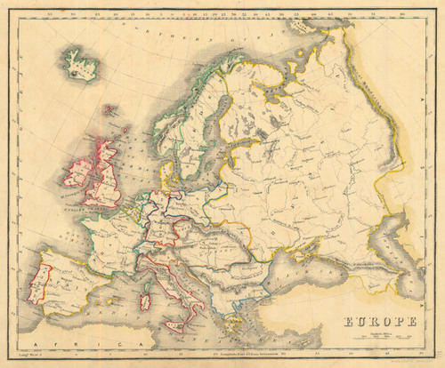 Map Of Europe 1840.Whyte 1840 Antique Map Of Europe Real Old Art Authentic