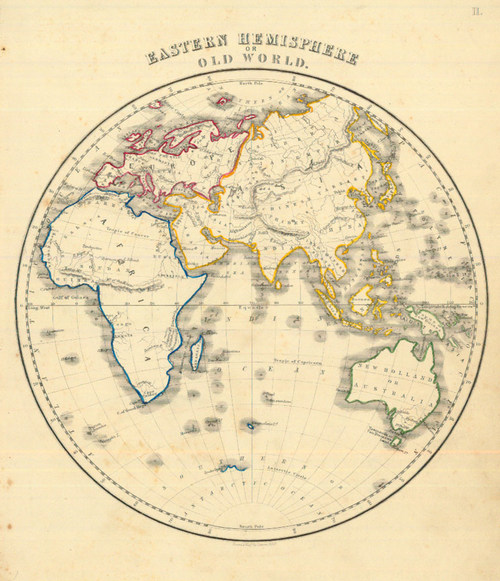 Whyte 1840 Antique Map of the Eastern Hemisphere — Real Old Art ...