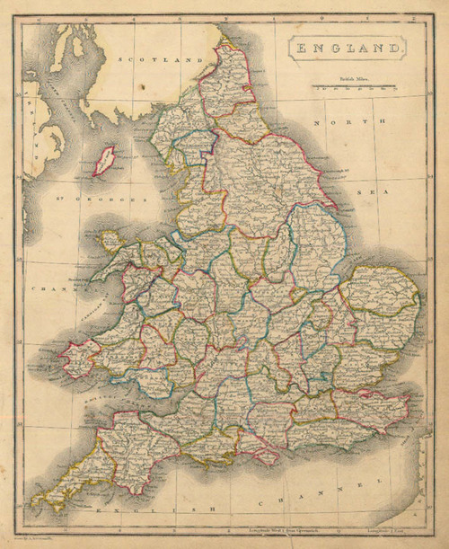 Arrowsmith 1836 Antique Map of England — Real Old Art   Authentic
