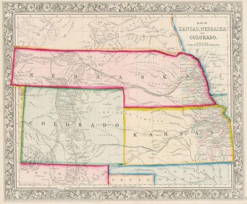 Mitchell 1861 Antique Map Of Kansas Nebraska Colorado Real Old