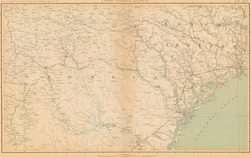 Map Of Old Georgia.Bien 1895 Civil War Map Of Portions In Northern Georgia Southern South Carolina