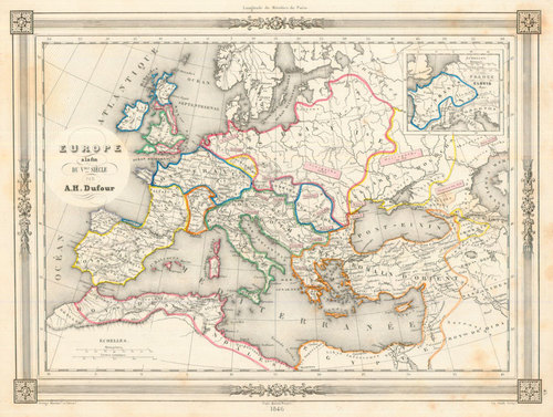 Dufour 1846 Antique Map Of Europe Circa 500 A D Real Old Art