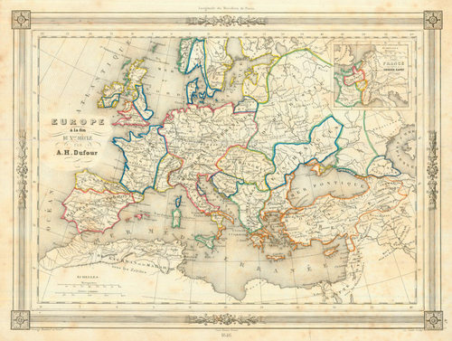 Dufour 1846 Antique Map Of Europe Circa 1000 A D Real Old Art