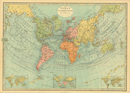 Bartholomew 1881 Antique Map of The World on Herschel's Projection