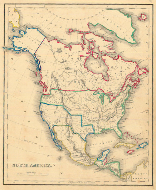 Antique Map Of North America.Whyte 1840 Antique Map Of North America Real Old Art Authentic