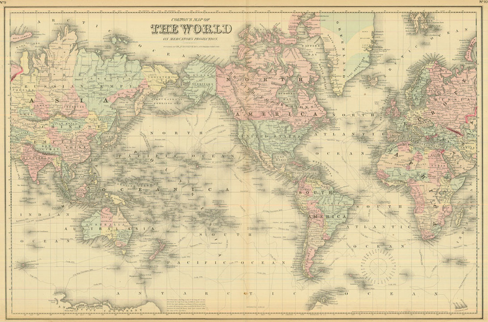Colton 1881 Antique Map of the World on Mercator's Projection