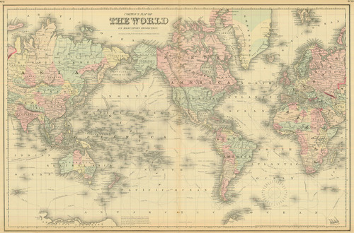 Colton Antique Map Of The World On Mercators Projection Real - Authentic world map