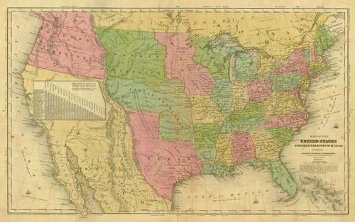 Olney Antique Map Of The United States Real Old Art - Old us map and pics