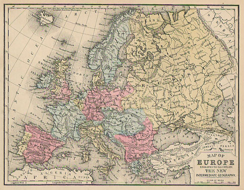 Mitchell 1880 Antique Map Of Europe Real Old Art Authentic