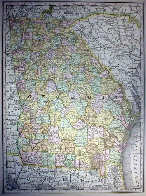 Map Of Old Georgia.Mcnally 1888 Antique Map Of Georgia