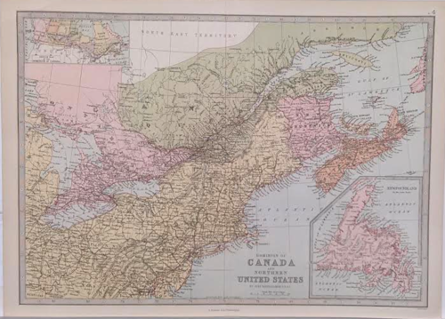 Bartholomew 1881 Antique Map of Canada & Northern U.S — Real Old Art ...