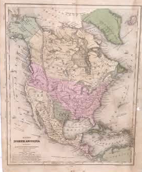 Antique Map Of North America.Olney 1844 Antique Map Of North America Real Old Art Authentic