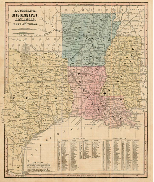 Smith 1860 Antique Map Of Louisiana Mississippi Arkansas Texas