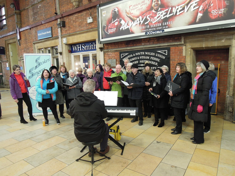 Singing to travellers on Platform 3