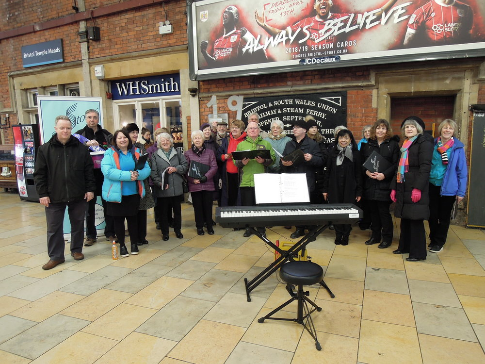 Event 19: Singing on Platform 3 at Bristol Temple Meads Station to support Youth Music's Give-a-Gig fundraiser.