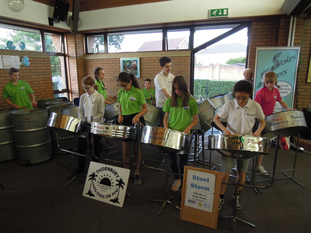 Steel Storm from Castle School Thornbury with some members of the school's senior band Panache led by Gill Holmes