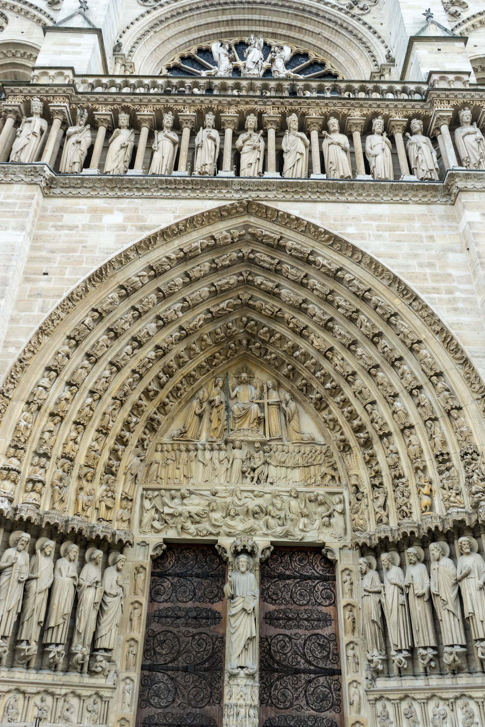 Relief carvings around the main entrance to Notre Dame