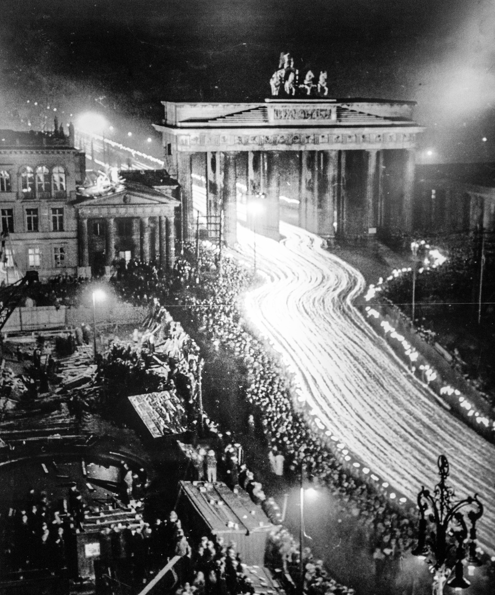 Candlelight parade through the Brandenburg Gates in the late 1930s