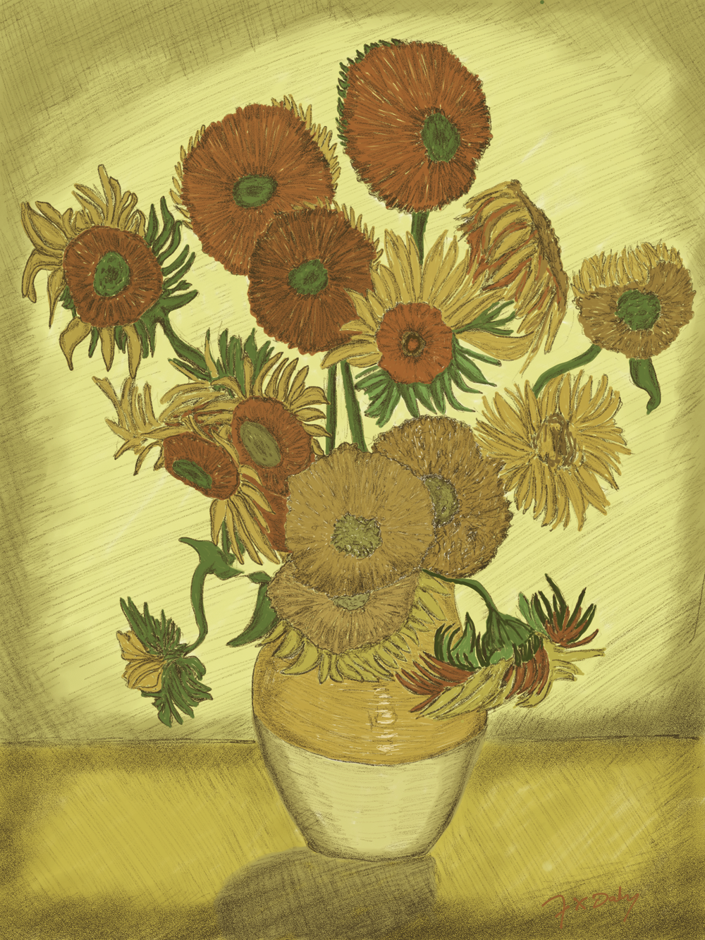 Digital drawing of Van Gogh's Sunflowers by Frank Daly