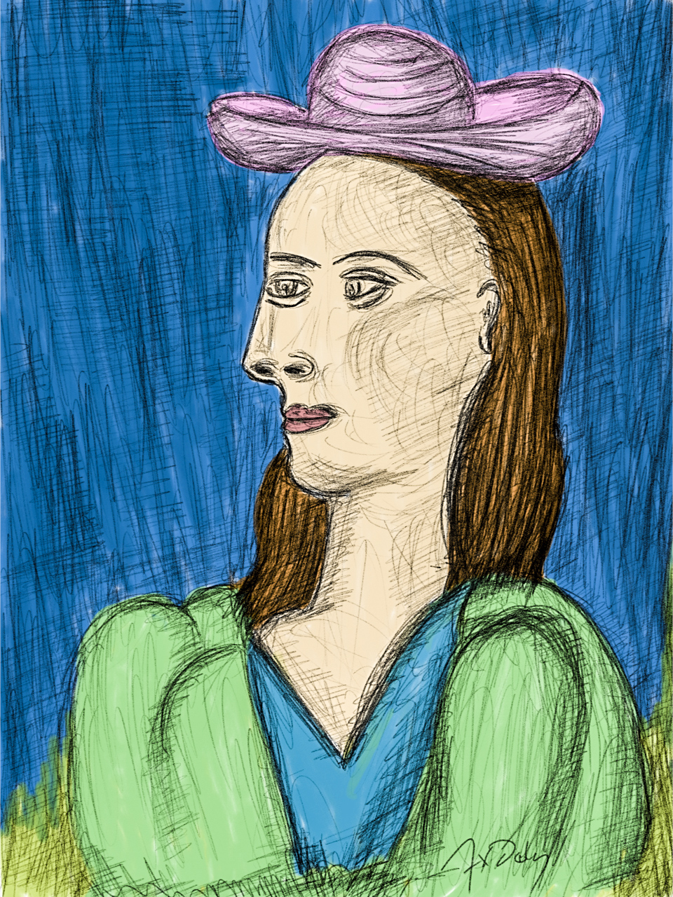 Drawing of Picasso's Woman with a hat