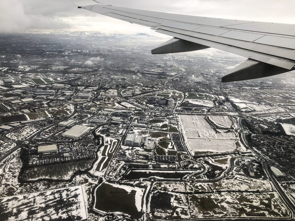 Flying over snowy Ireland on my way to Berlin on 4th March 2018