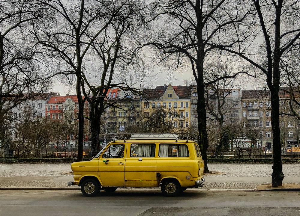 Vintage camper at Boxhagener Platz park.