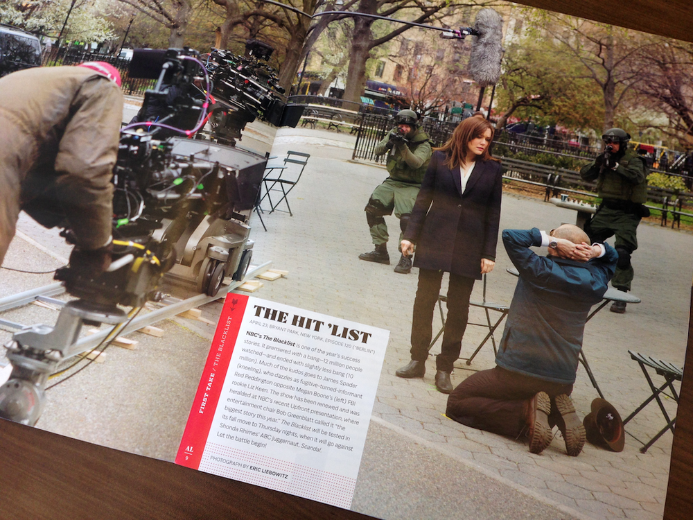 Each issue begins with The First Take, a full spread, behind-the-scenes look at a contending show.
