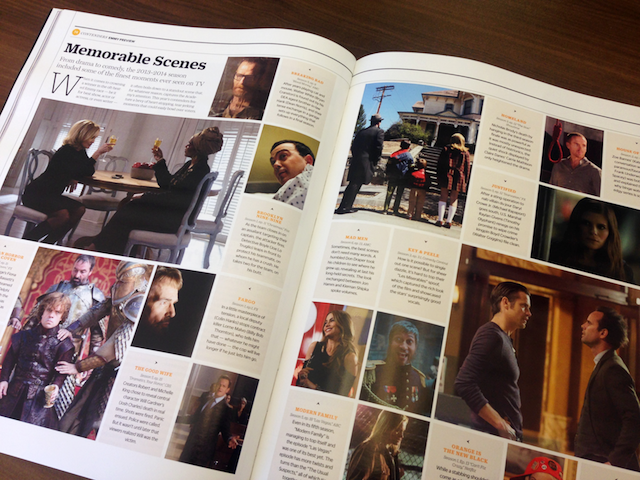 This checkerboard-like layout was created to highlight likely contenders in each awards category. It allows flexibility in the number of entries listed for each category, scale change within the imagery for visual interest, while providing the art dept. an easy-to-follow template for quick production.