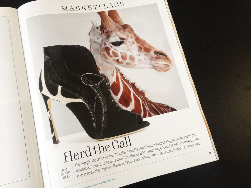 Shoe of the Week, the Marketplace opener. This page posed a problem during production in that my concept for the page called for an image of a shoe photographed in an environment, but we only had a shoe on white. I thought I might be able to fake a background using animal print, but did one better when I stumbled upon this stock image giraffe. Turned out to be my favorite page of the issue!