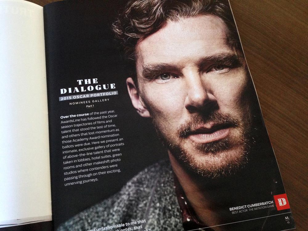 Oscar portfolio opener. Benedict Cumberbatch photographed by Mark Mann.